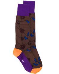 Calcetines con print de flores en marrón oscuro de Marni