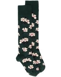 Calcetines con print de flores verde oscuro de Marni