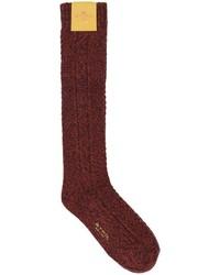 Calcetines de lana de punto burdeos de Etro