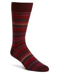 Calcetines de rayas horizontales burdeos de Lorenzo Uomo