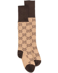 Calcetines estampados marrón claro de Gucci