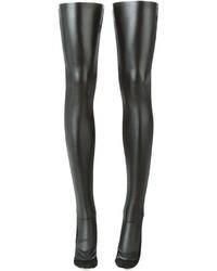 Calcetines hasta la rodilla de cuero negros de Sacai