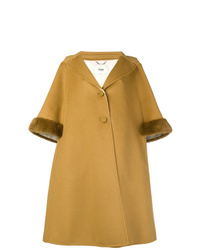Fendi A Line Cropped Sleeve Coat