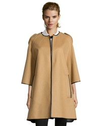 Burberry Camel Wool Blend Three Quarter Sleeve Cape