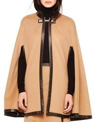 ChicNova Leather Edge Wool Cape