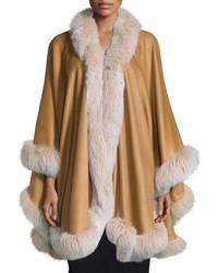 Fur Trim Cashmere Cape Camel