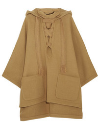 Chloé Iconic Hooded Wool Blend Cape Camel