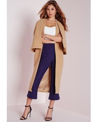 77f4d0ee465a ... Missguided Longline Collarless Wool Cape Camel