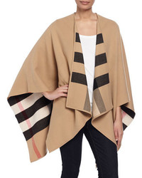 Burberry Charlotte Check To Solid Wool Cape Camel