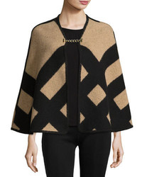 Burberry Check Wool Blend Blanket Poncho Camel