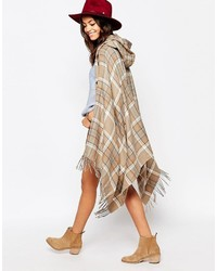 Esprit Long Check Hooded Cape