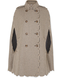 REDVALENTINO Scalloped Checked Wool Blend Cape