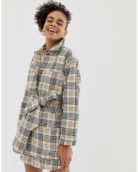 Monki Longline Jacket In Beige Check