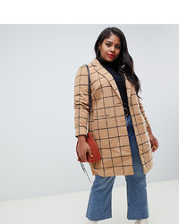 New Look Plus New Look Curve Coat With Grid Camel