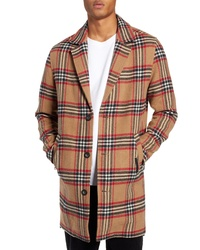 Camel Check Overcoat