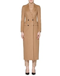 SUISTUDIO Anna Long Double Breasted Camel Hair Coat