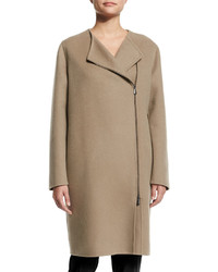 Bottega Veneta Asymmetric Zip Front Cashmere Coat Tan