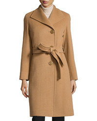 Cinzia Rocca Belted Wool Blend Long Coat Camel