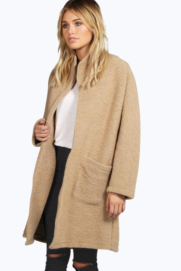 Boohoo Boutique Orla Collarless Wool Coat | Where to buy & how to wear