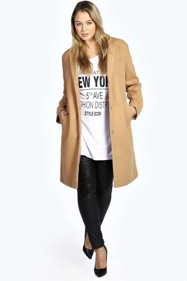 a16257ead38cf ... Camel Coats Boohoo Saffron Longline Oversized Boyfriend Coat ...