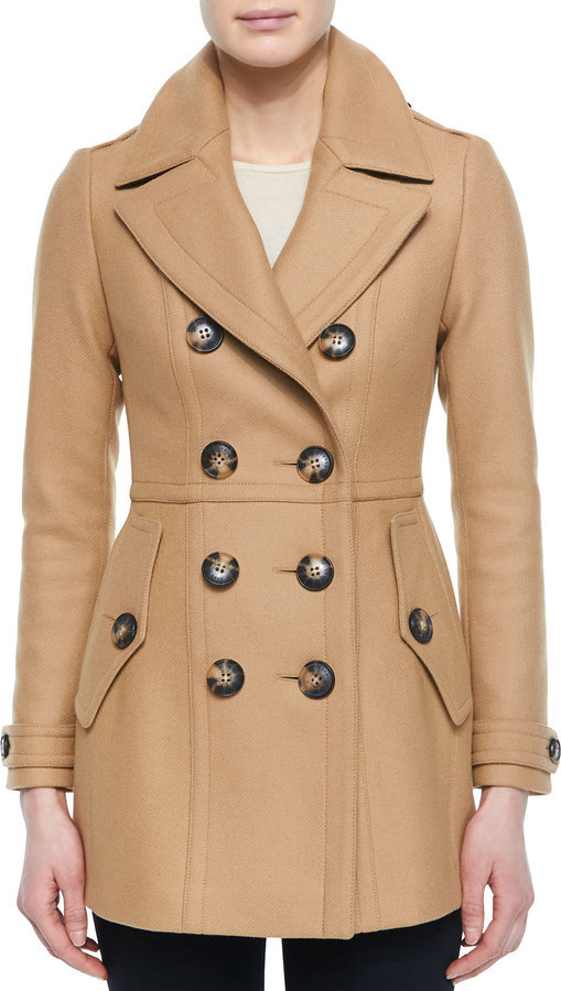 Burberry Brit Dillsmead Military Wool Blend Pea Coat Camel | Where ...
