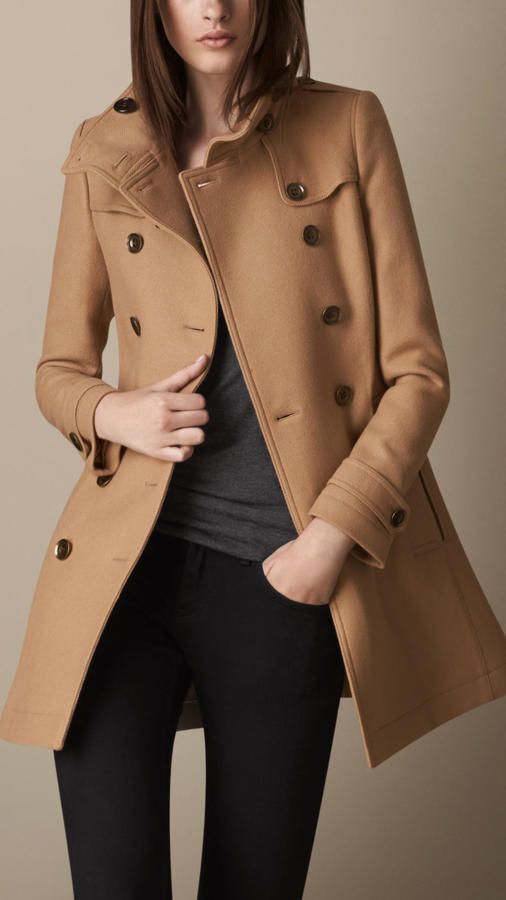 c2d9e5dba $1,095, Burberry Brit Short Double Wool Twill Trench Coat