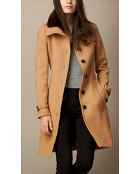 Burberry Brit Wool Blend Twill Coat With Shearling Topcollar