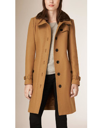 Burberry Brit Wool Cashmere Coat With Detachable Shearling Collar