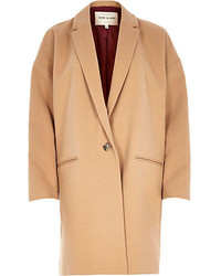 River Island Brown Camel Cocoon Swagger Coat