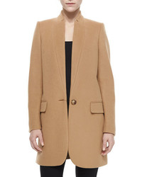 Stella McCartney Bryce One Button Wool Blend Coat Camel