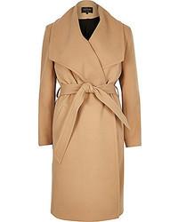 River Island Camel Belted Robe Coat
