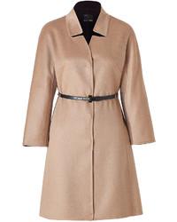 Fendi Camel Cashmere Coat With Studded Leather Belt