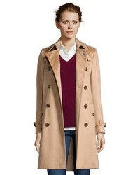Burberry Camel Cashmere Kensington Double Breasted 34 Trench Coat