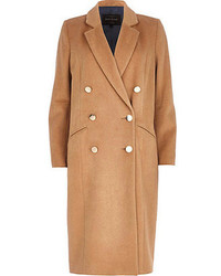 River Island Camel Double Breasted Midi Coat