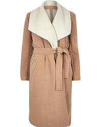 River Island Camel Wool Blend Belted Wrap Winter Coat