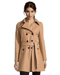 DKNY Camel Wool Blend Blake Belted 34 Length Trench Coat