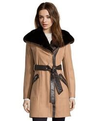 Via Spiga Camel Wool Faux Fur Trimmed Belted Coat