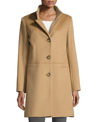 Cinzia Rocca Due Stand Collar Wool Blend Long Coat Camel