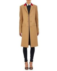 Givenchy Contrast Collar Melton Coat Colorless
