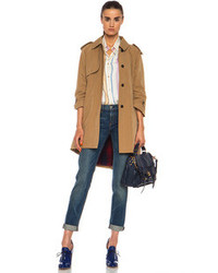 Band Of Outsiders Cutaway Trench Cotton Blend Coat In Tan