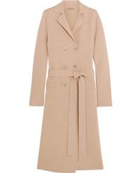 Bottega Veneta Double Breasted Wool Blend Coat Beige