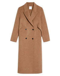 Sandro Double Breasted Wool Blend Coat