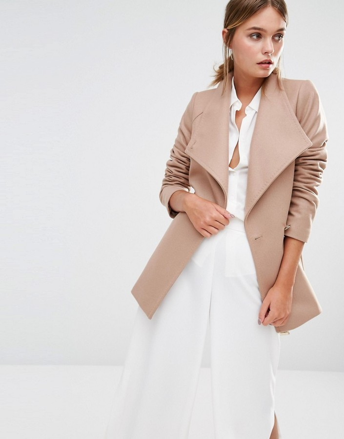 most fashionable elegant in style big sale $436, Ted Baker Elethea Short Wrap Collar Coat In Camel