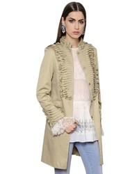 Ermanno Scervino Frilled Stretch Cotton Canvas Coat
