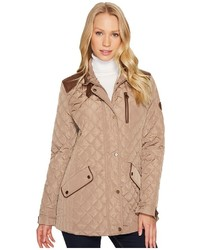 Lauren Ralph Lauren Faux Leather Trim Quilt Coat