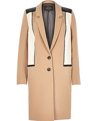 River Island Light Camel Zip Detail Coat