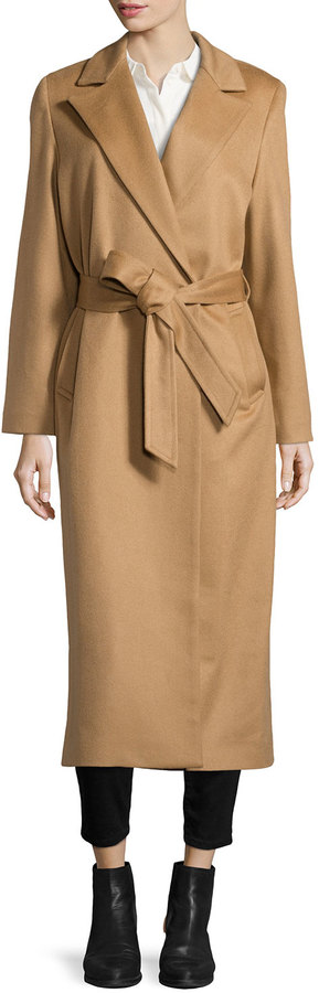 Sofia Cashmere Long Cashmere Belted Coat Camel | Where to buy ...