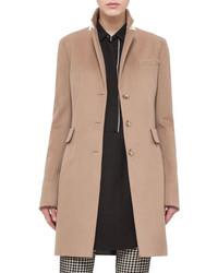 Akris Punto Long Gabardine Blazer Coat Camel