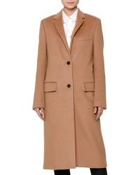 Valentino Long Wool Coat Wrockstud Collar Camel