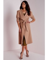 5ac8c1da6e56 ... Missguided Belted Waterfall Coat Camel